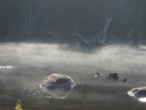 Misty morning on Cranberry Lake, New York